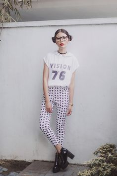 Tricia Gosingtian - Jrunway Top, Jrunway High Waist Pants, Blackfive Boots, Emoda Choker, Casio Watch - 092814
