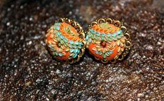 Multi shimmer  Stud earrings with swarowski crystal by Peelirohini