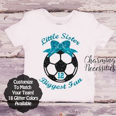 Little Sister Biggest Fan - Soccer Sister with Soccer Ball and Jersey Number SS - Soccer Sister - Personalized Custom Colors Baby Toddler Girl Fan Top, Little Sister Shirt, Coming Home - Charming Necessities