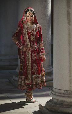 Simply stunning red bridal anarkali.