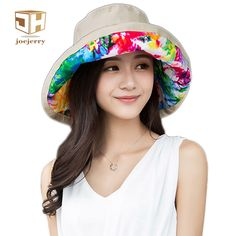 cb693005c2e joejerry Printed Floral Fisherman Bucket Hat Summer Women Wide Brim  FishingWaterproof Sun Hats uv Protection Basin
