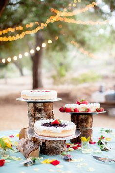 A Perfectly Happy Summer Wedding - Tree Trunk Cake Display