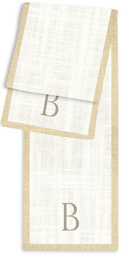 1-Letter Block Cream and Linen Monogram Table Runner