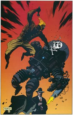 Pin-up by Mike Mignola from The Rocketeer Adventure Magazine published by Dark Horse Comics, January Comic Book Artists, Comic Book Characters, Comic Artist, Comic Character, Comic Books Art, Character Concept, Marvel Comics, Heros Comics, Dark Horse Comics