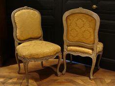 Paire De Chaises à La Reine Style Louis XV, Fabienne Lamberger-Ponvianne, Proantic
