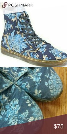 """Dr. Martens, 10, Blue Jouy Floral Hackney High Top Doc Martens sneakers!  """"Hackney"""" style in """"Blue Jouy"""" floral print.  High tops style.  7 eyelet lace up.  Pre-owned with most of the wear on the toes but overall great pre-owned condition with plenty of life left!  Ladies' size 10. Dr. Martens Shoes Sneakers"""