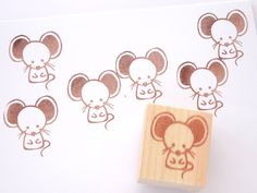 Mouse stamp, Kawaii animal stamp, Japanese stationery, Baby shower, Invitation stamp, Anime stamp, Stationery geek, Hobonichi hanko, Kawaii by JapaneseRubberStamps on Etsy