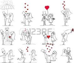 conjunto de fotos de la boda, la novia y el novio en el amor photo