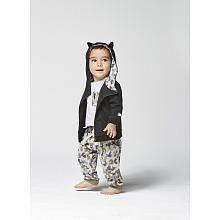 Kardashian Kids Boys Black Hooded Asymmetrical Zip Up Cardigan