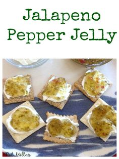 Nanny& Easy Jalapeno Pepper Jelly Great recipe and delicious served on crac. Nanny& Easy Jalapeno Pepper Jelly Great recipe and delicious served on crackers with cream cheese! Jalapeno Jelly Recipes, Pepper Jelly Recipes, Hot Pepper Jelly, Strawberry Jalapeno Jelly Recipe, Recipes With Jalapenos, Jalapeno Jam, Pepper Relish, Jam Recipes, Vegans