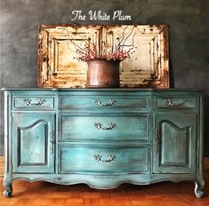 "The White Plum (@thewhiteplum) on Instagram: ""#frenchprovincial #buffet painted with @debisdesigndiary #diypaint in #bohemianblue #mintchip ,…"""