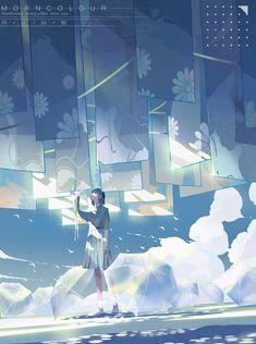 #插画 夏日与微风 - MORNCOLOUR의 일러스트 - pixiv Art And Illustration, Illustrations, Pretty Drawings, Anime Kunst, Anime Scenery, Anime Artwork, Aesthetic Art, Beautiful Paintings, Chibi
