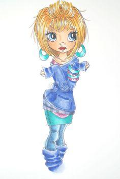 Copic Markers  skin: E00/E21/E34/E93/E95/BV02  eyes: B12/B26  hair: Y11/Y21/YR24/E97 (sepia multiliner)  pink shirt:RV52/RV66  purple shirt: BV11/BV13/BV29  sweater/socks:B60/B63/B66/B69  skirt/earings:BG11/BG53/BG57/BG49  jeans:B41/B45/B99  lips:R22/R29