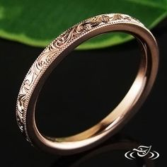 14KT ROSE GOLD FLAT COMFORT FIT BAND WITH SCROLL ENGRAVING
