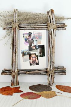 DIY Rustic Photo Frame idea - Rustic home decor makes any space cozier! Give it even more warmth with an easy, inexpensive DIY Rustic Photo Frame using simple, affordable supplies like twigs and twine. Perfect fall decorations for your house and great gift idea!