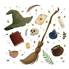 Illustration Inspiration, Autumn Illustration, Halloween Illustration, Sketch Inspiration, Witch Aesthetic, Aesthetic Art, Imprimibles Harry Potter, Harry Potter Illustrations, Halloween Art