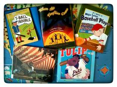 Pre-K and K Baseball books.  T-Ball Trouble by Cori Meister.  When the Fireflies Come by Jonathan London.  If I Were a Major League Baseball Player by Eric Braun.  Bats at the Ballgame by Brian Lies.  Tulip at the Bat by J. Patrick Lewis.