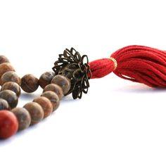 Picture Jasper Mala Necklace with Brass Lotus Guru Bead - Picture Jasper Buddhist Prayer Beads - Tibetan Mala