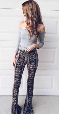 #winter #outfits /  Grey Off Shoulder Knit // Printed Pants