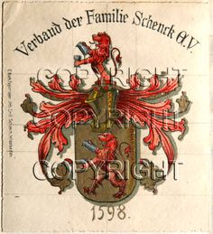 schenck coat of arms 2 watercolour emil schenck approx 1840 wiesbaden