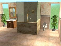 ModTheSims - Double Marble Frameless Glass Showers