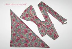 1d835f2f824c Floral Liberty Print Bow Tie and Matching Pocket Square. Men's pre-tied  Pink and