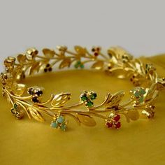 Sumithra Navratna Stones Bangle. Prices, Buy Sumithra Navratna ... Jewelry Design Earrings, Gold Earrings Designs, Gold Bangles Design, Gold Jewellery Design, Fancy Jewellery, Jewelry Patterns, Bridal Jewelry, Jewelery, Purple Maxi