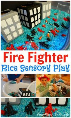 Celebrate National Fire Prevention Week (Oct 5 - 11) with a super fun Fire Fighter sensory bin! Part of the Fire Fighter Birthday Party: Hands-On Firefighting Play post at One Time Through.