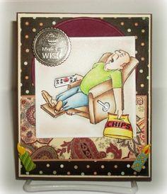 Ai People > Lazy Boy Set (Sku#4159) from Art Impressions.  Masculine card.