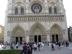 The western facade of Notre-Dame Cathedral was completed in 1225 though the western towers were not completed until 1250.