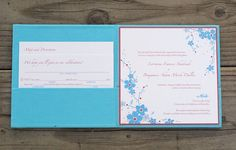 Forget-Me-Not, turquoise and raspberry custom handmade fabric wedding invitation