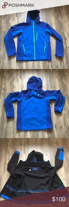 Marmot Essence Jacket Men's Blue size Medium Marmot Essence Jacket Size Medium  Color Blue with Green Zippers  Hood zips into collar (see picture) Manufacturer has a lifetime warranty  EUC- smoke free and pet free home *see product details in last picture Marmot Jackets & Coats Performance Jackets
