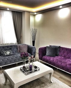 To add a sophisticated feel to her salon, Seval Hanım has preferred our luxurious fabrics in purple and gray harmony. The accessories that complement the decoration also complement the feeling. Silver vases, in purple. Living Room Grey, Living Room Sets, Living Room Designs, Living Room Decor, Sofa Design, Interior Design, Mediterranean Home Decor, Luxury Apartments, Luxury Living