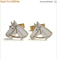 ON SALE Figural Horse Cuff Links Vintage 1950s by redroselady