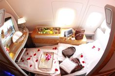 First class private suite in Air Emirates airbus. Photo by: Alexander Hassenstein