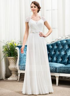 A-Line/Princess Sweetheart Floor-Length Chiffon Satin Lace Wedding Dress With Beading Flower(s) Sequins Pleated (002056475)