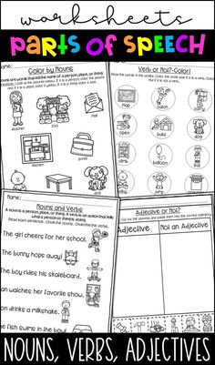 The 15 best Parts of Speech Worksheets images on Pinterest
