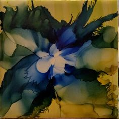 Playing with new air brush. Flower in alcohol ink by tina