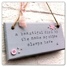 Items similar to Baby nursery quote shabby chic plaque / wall hanging 'baby sleeps here' on Etsy Door Plaques, Wooden Plaques, Wooden Art, Wooden Crafts, Wooden Signs, Personalized Plaques, Personalised Signs, Shabby Chic Plaques, Pallet Pictures