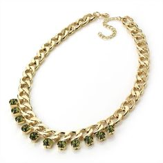 ♥ Olive Green Crystal Gem Chain Choker/Collar/Necklace - £12