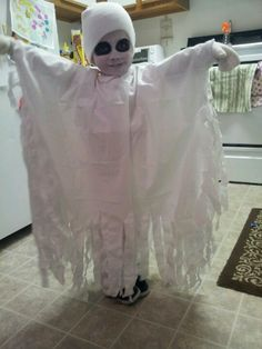 Ghost costume for my little boy it was so easy just a ripped sheet!  sc 1 st  Pinterest & 34 best ghost costumes images on Pinterest | Halloween ideas ...