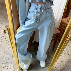 Retro High Waist Washed Light Blue Wide Leg Pants from FE CLOTHING S code: Waist Hip: Thigh: Calf: Pants: M code: Waist circumference Hip circumference: Thigh circumference: Calf circumference: Pants length: L code: Waist Hip: Thigh: Calf: Pants: Lässigen Jeans, Casual Jeans, Wide Leg Jeans, Mom Jeans, Guess Jeans, Ladies Jeans, Stylish Jeans, Loose Jeans, Looks Street Style