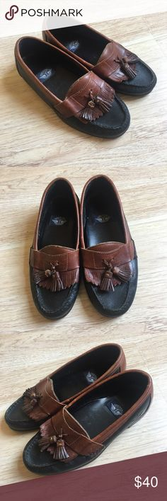 Vintage Men's Leather Tassle Dockers Loafers Vintage all leather loafers with Tassle details from Dockers. In good used condition. Inside cushion sole for left shoe lifts but does not take away from the wear of the shoe. Dark brown with cognac brown contrast. Dockers Shoes Loafers & Slip-Ons