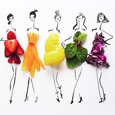 Fashion illustrator Gretchen Roehrs completes her dress sketches with food Illustration Mode, Food Illustrations, Fashion Illustrations, Illustration Artists, Japan Design, Dress Sketches, Fashion Sketches, Fashion Drawings, Arte Fashion