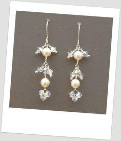 Earrings Trinity Pearl and Crystal Bridal Earrings Wedding Jewellery Bridesmaid  £24.49