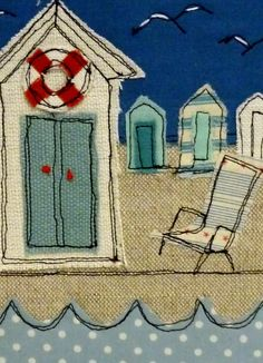 Beach hut framed textile art - Häuser - Home Freehand Machine Embroidery, Free Motion Embroidery, Free Machine Embroidery, Embroidery Applique, Embroidery Boutique, Paper Embroidery, Modern Embroidery, Embroidery Ideas, Fabric Cards