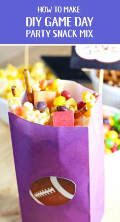 Here's a colorful way to celebrate the biggest game of the year: DIY Football Treat Bags filled up with a sweet and salty Party Snack Mix. The unexpected addition of Skittles and Starburst are sure to (Party Mix) Game Day Snacks, Game Day Food, Party Snacks, Kid Snacks, Party Appetizers, Football Treats, Football Food, Pop Corn, Party Mix