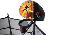 The solid backboard is crafted from the same material used in riot shields, so it's practically indestructible. The ball will rebound effortlessly, allowing your kids to score higher than ever! Trampoline Basketball, Backyard Trampoline, Basketball Goals, Basketball Hoop, Rebounding, Tent Camping, Riding Helmets, Things That Bounce, Fun Time