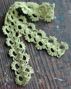 Hand Crocheted Linen Edging, Lace Trim -- yellowgreen