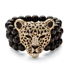 Buy Onyx and Crystal Leopard Stretch Bracelet in Yellow Gold Tone by PalmBeach Jewelry on OpenSky
